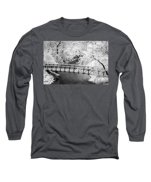 Snowy Bridge On Mill Creek Long Sleeve T-Shirt