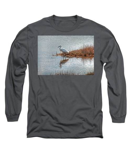 Long Sleeve T-Shirt featuring the photograph Snowy Egret Hunting A Salt Marsh by Wayne Marshall Chase