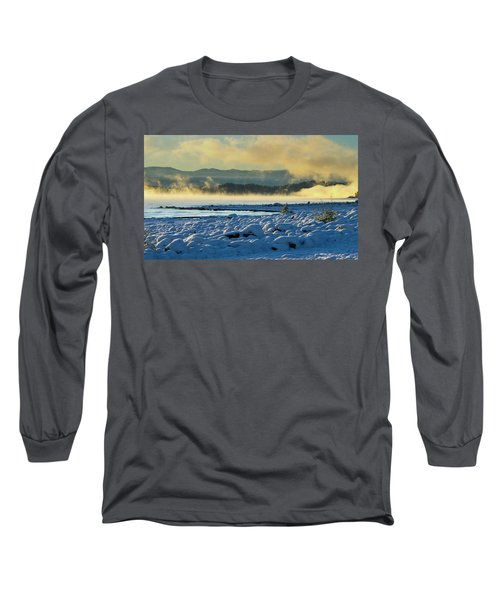 Snowy Shoreline Sunrise Long Sleeve T-Shirt