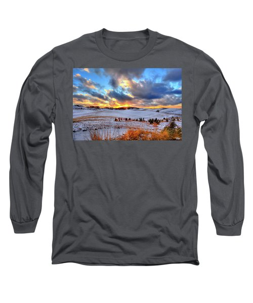Long Sleeve T-Shirt featuring the photograph Snowy Sunset by David Patterson