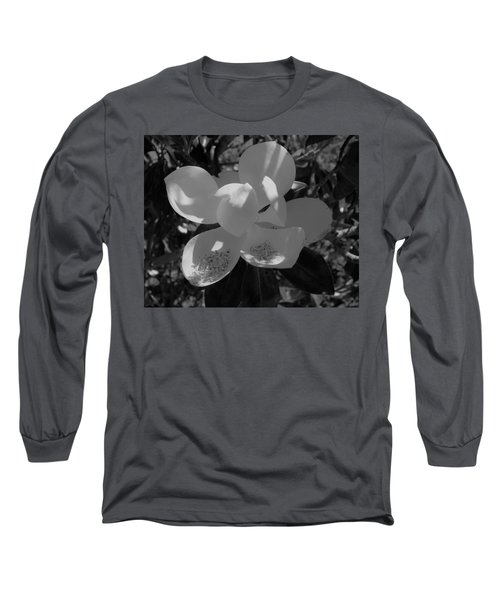 Southern Magnolia In Black And White Long Sleeve T-Shirt