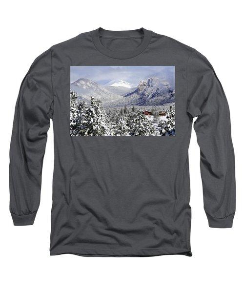 Spring Snow In Estes Park Colorado Long Sleeve T-Shirt