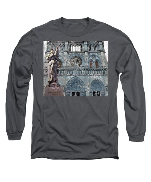 St Joan Of Arc Watch Over Notre Dame Long Sleeve T-Shirt