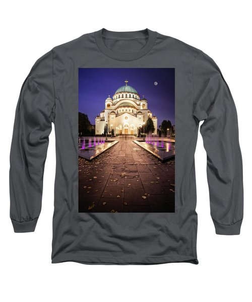 St. Sava Temple In Belgrade Nightscape Long Sleeve T-Shirt
