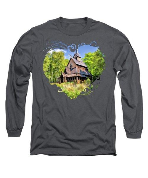 Stavkirke Church On Washington Island Door County  Long Sleeve T-Shirt