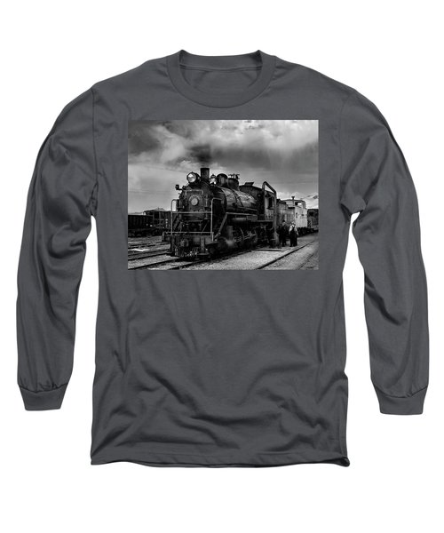 Steam Locomotive In Black And White 1 Long Sleeve T-Shirt