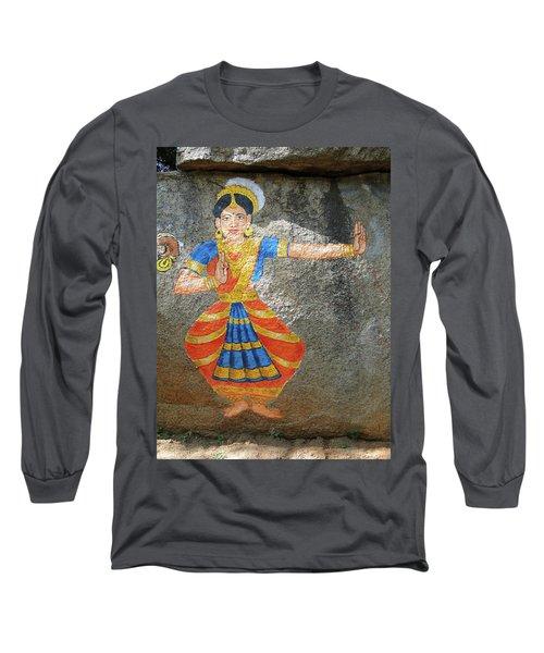 Stone Painting Of Nautch Dancing Gir Long Sleeve T-Shirt