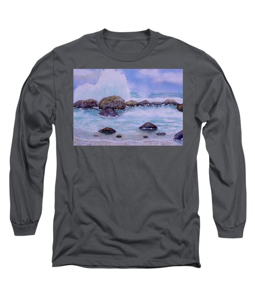 Stormy Shore On Nisyros Greece Long Sleeve T-Shirt