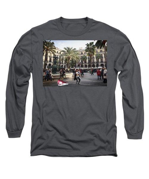 Street Music. Guitar. Barcelona, Plaza Real. Long Sleeve T-Shirt