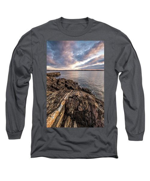 Striations. Leading Lines In The Rocks Long Sleeve T-Shirt