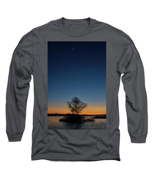 Sunset In The Refuge With Moon Long Sleeve T-Shirt