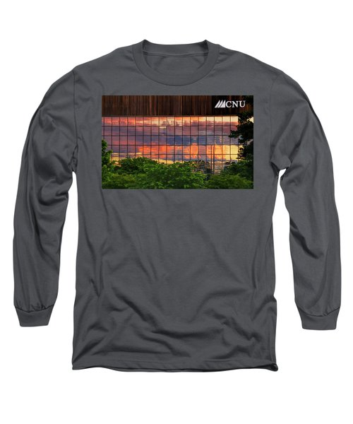 Sunset Reflections On A Wall Of Glass Long Sleeve T-Shirt