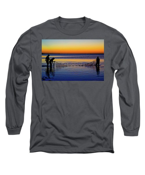Sunset Seining On Copano Bay Long Sleeve T-Shirt