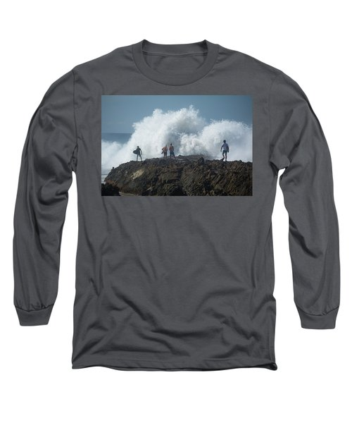Surfers On The Beach, Coral Sea Long Sleeve T-Shirt