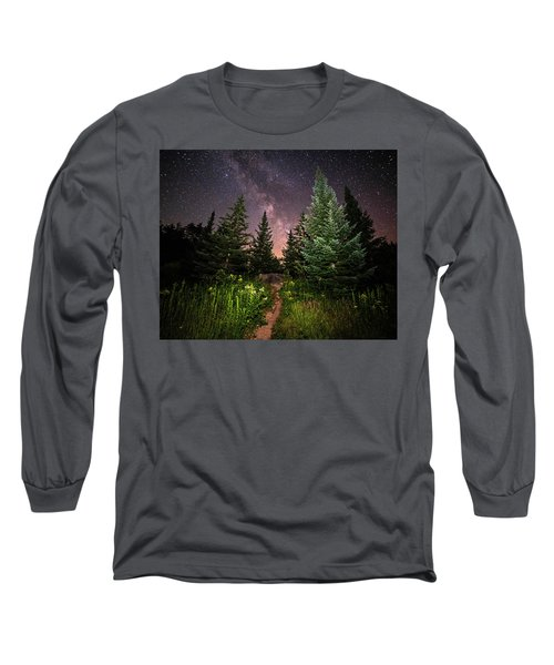 The Path To The Milky Way In Albany New Hampshire Long Sleeve T-Shirt