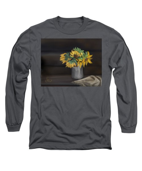 Long Sleeve T-Shirt featuring the painting The Sun Flowers  by Fe Jones
