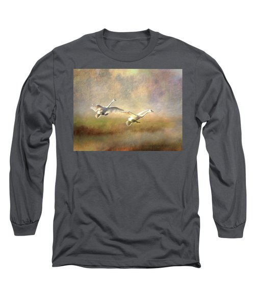 Trumpeter Swan Landing - Painterly Long Sleeve T-Shirt