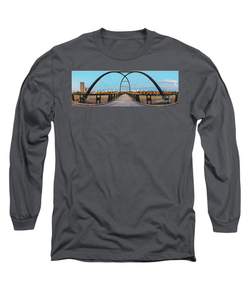 Twilight Panorama Of Bill Coats Bridge Over Brays Bayou - City Of Houston Texas Medical Center Long Sleeve T-Shirt
