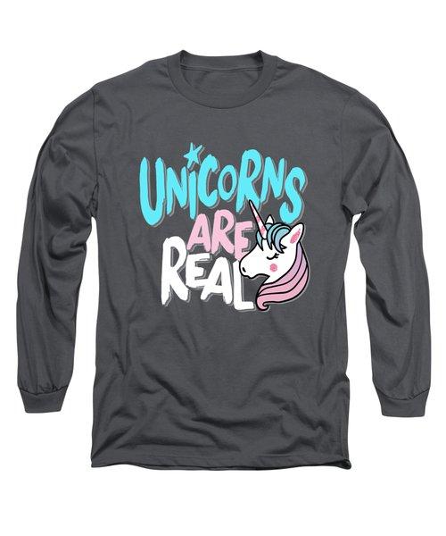 Unicorns Are Real - Baby Room Nursery Art Poster Print Long Sleeve T-Shirt