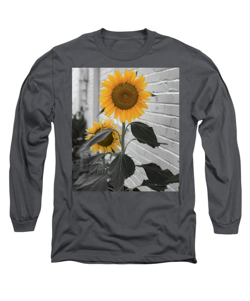 Urban Sunflower - Black And White Long Sleeve T-Shirt