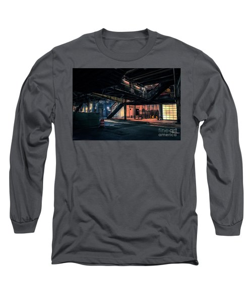 Vintage Chicago L Station At Night Long Sleeve T-Shirt