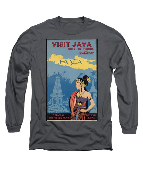 Vintage Travel Poster - Java Long Sleeve T-Shirt