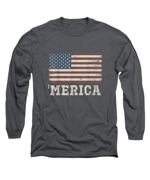 Vintage Usa Flag 'merica T-shirt Long Sleeve T-Shirt