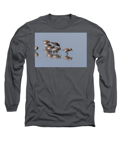Western Sandpipers And Reflection Long Sleeve T-Shirt