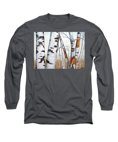 Wild Birch Trees In The Forest In Watercolor Long Sleeve T-Shirt