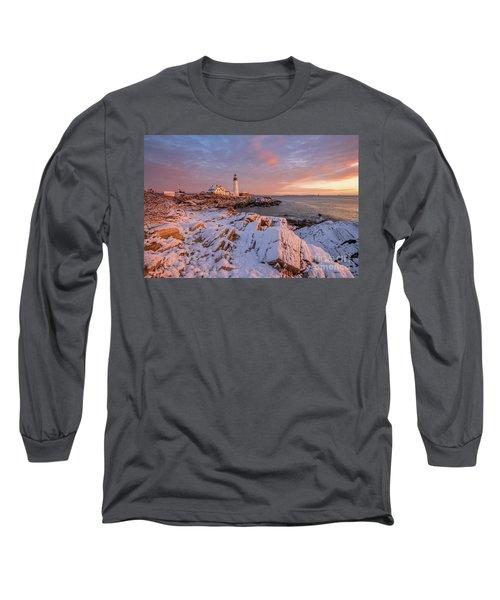 Winter Sunrise At Portland Head Light Long Sleeve T-Shirt