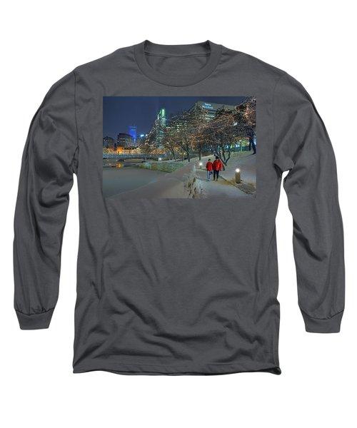 Winter Walk - Gene Leahy Mall - Omaha Long Sleeve T-Shirt