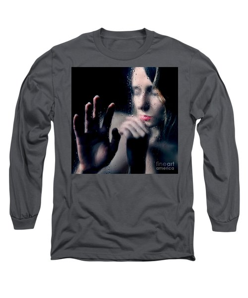 Woman Portrait Behind Glass With Rain Drops Long Sleeve T-Shirt