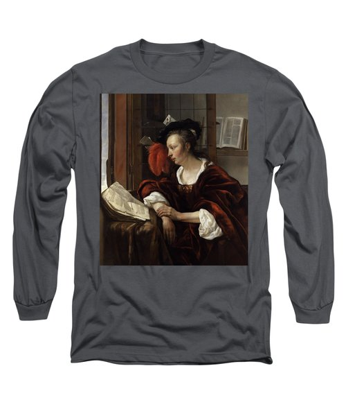 Woman Reading A Book By A Window Long Sleeve T-Shirt