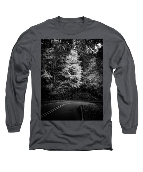Yellow Tree In The Curve In Black And White Long Sleeve T-Shirt