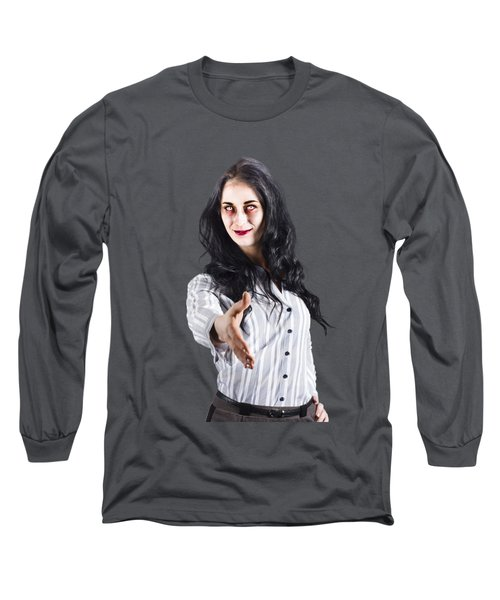 Zombie Offers Her Hand Long Sleeve T-Shirt