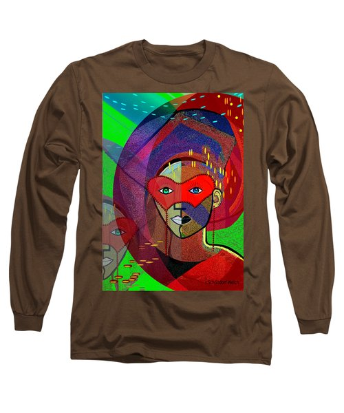 394 - Challenging Woman With Mask Long Sleeve T-Shirt by Irmgard Schoendorf Welch