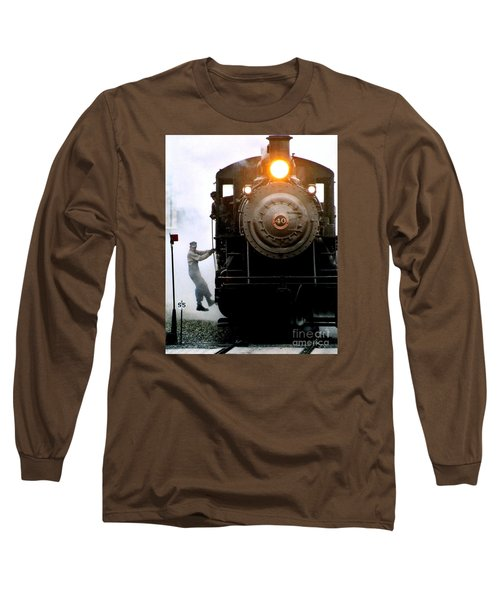 All Aboard The Number 40 At New Hope Pennsylvania Train Terminal Long Sleeve T-Shirt by Michael Hoard