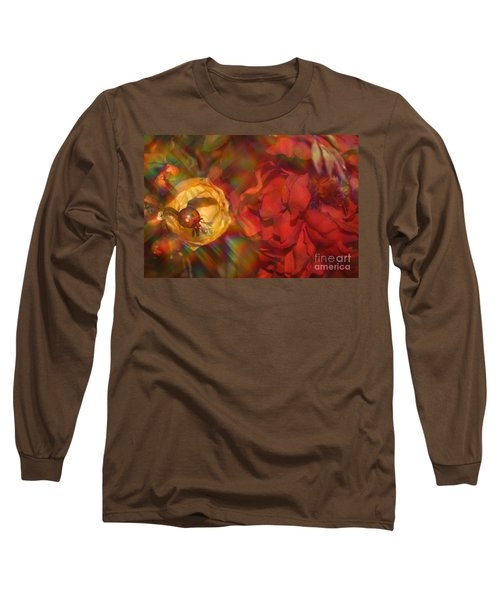 Long Sleeve T-Shirt featuring the photograph  Impressionistic Bouquet Of Red Flowers by Dora Sofia Caputo Photographic Art and Design