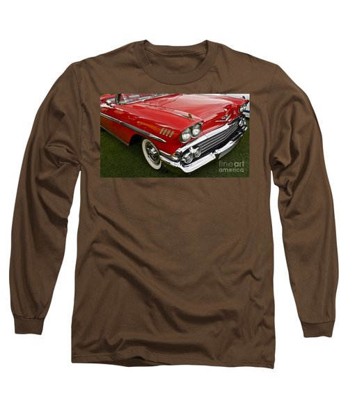 1958 Chevy Impala Long Sleeve T-Shirt by Linda Bianic