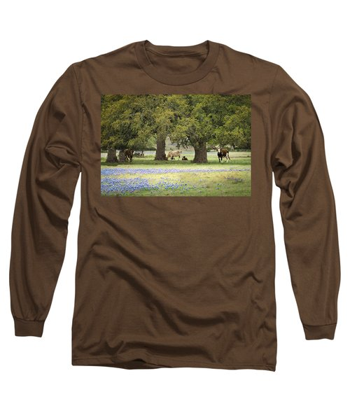 Bluebonnets And Bovines Long Sleeve T-Shirt by Debbie Karnes