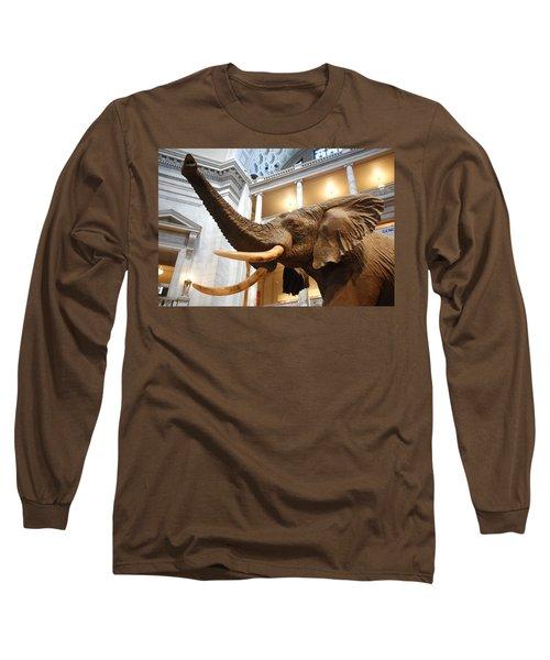 Bull Elephant In Natural History Rotunda Long Sleeve T-Shirt