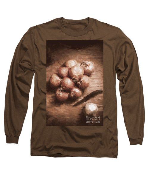Digital Painting Of Brown Onions On Kitchen Table Long Sleeve T-Shirt