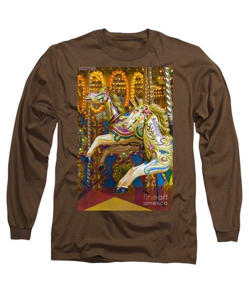 Long Sleeve T-Shirt featuring the photograph Fairground Carousel by Lee Avison