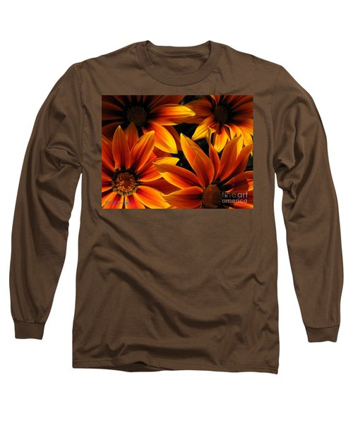 Gazania Named Kiss Orange Flame Long Sleeve T-Shirt by J McCombie