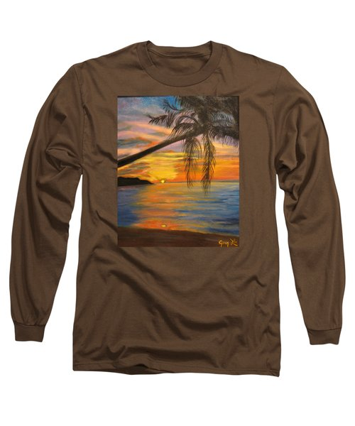 Long Sleeve T-Shirt featuring the painting Hawaiian Sunset 11 by Jenny Lee