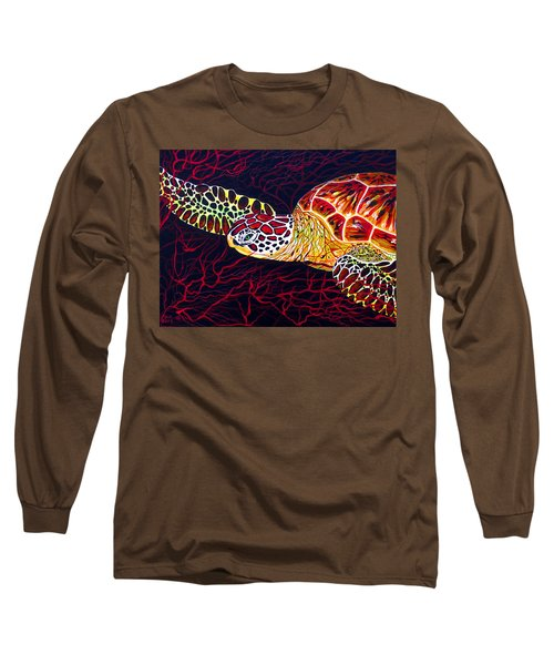 Long Sleeve T-Shirt featuring the painting  Hawksbill Turtle by Debbie Chamberlin