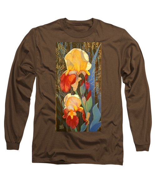 Long Sleeve T-Shirt featuring the painting Irises by Marina Gnetetsky