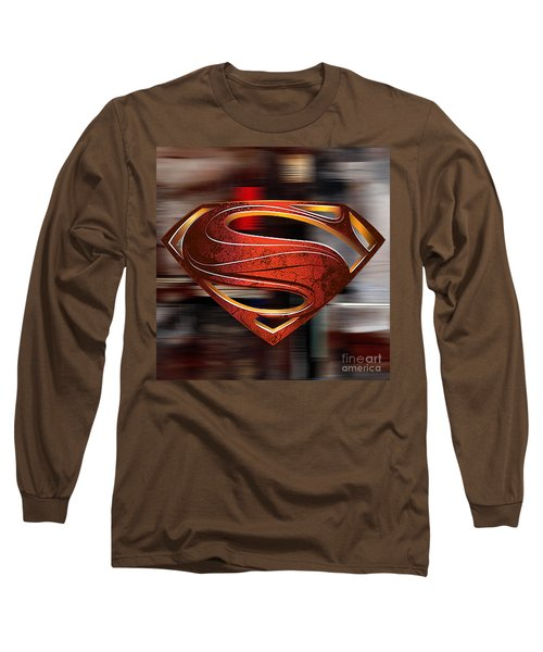 Long Sleeve T-Shirt featuring the mixed media Man Of Steel Superman by Marvin Blaine