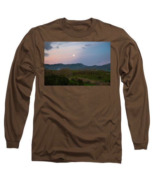 Moon Over The Hills Of Povoacao Long Sleeve T-Shirt