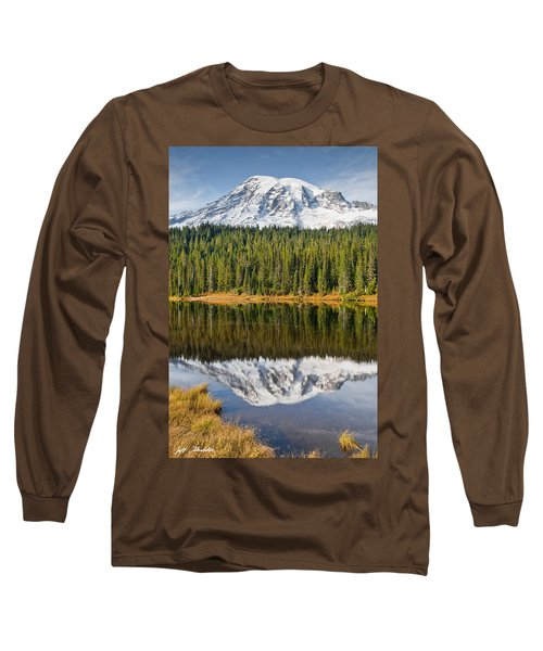Mount Rainier And Reflection Lakes In The Fall Long Sleeve T-Shirt
